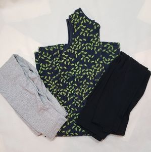 A lands end navy dress and 2 leggings, size 8